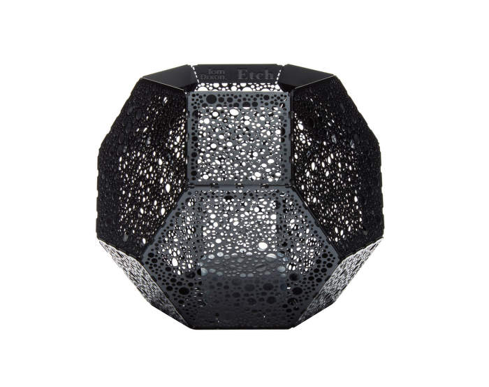 Etch Tea Light Holder Dot Black
