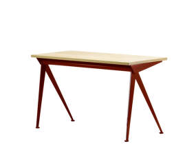 Stôl Compas Direction, solid natural oak top table/Japanese red base