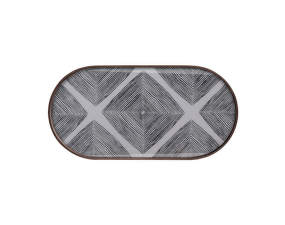 Podnos Glass Tray Oblong, Slate Linear Squares