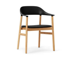 Stolička Herit Armchair Oak Leather, black