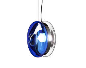 Závesná lampa Orbital, blue/polished nickel