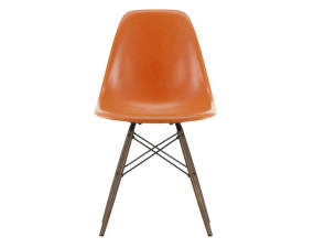 Stolička Eames Fiberglass DSW, red orange/dark maple