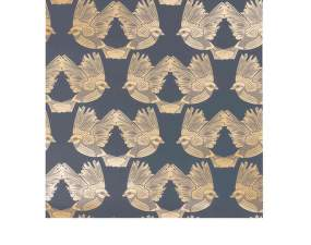 Tapeta Birds, deep blue/gold