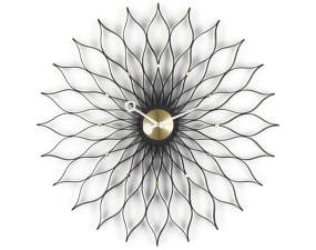Hodiny Sunflower, black ash/brass